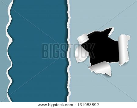 Torn paper a hole in a sheet of paper with shadow