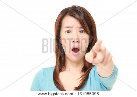 portrait of Japanese woman witnessed something on white background