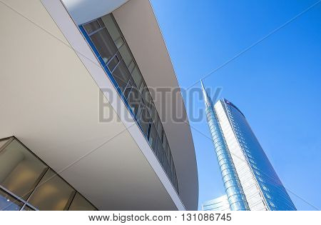 Milan Italy - January 24 2015: Porta Nuova the sinuous Porta Nuova building with the Unicredit tower in the background