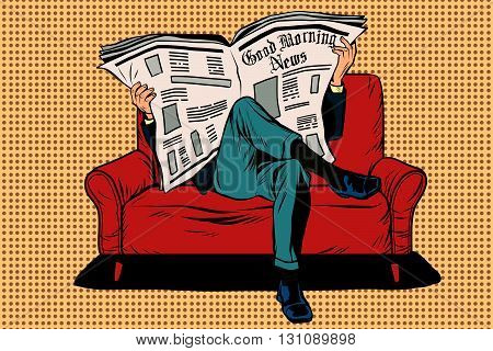 The morning paper reads man pop art retro vector. Businessman on the couch. Morning press. News and politics