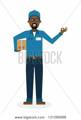 Delivery man with parcel and ok gesture. Fast transportation. Isolated african american cartoon character on white background. Postman, courier with package and ok.