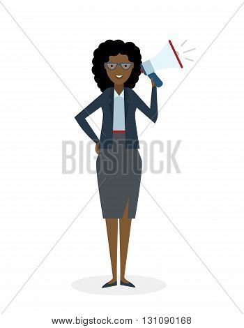 Business woman with  megaphone on white background. Isolated african american businesswoman holding loudspeaker and book. Announcement and advertising. Attention please. Loud voice.