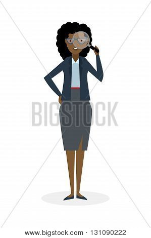 Businesswoman with magnifier on white background. Isolated character. African american observer. Analyzing tool. Magnifying glass. Curiosity and research in business.