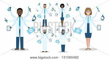 Multitaskig multicultural doctors on white background. Set of caucasian, african american and arabian doctors. Men and women. Medical treatment, fast diagnosis and emergency.