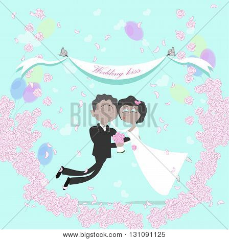 Wedding african american couple flying in the air between clouds. Marriage kiss. Birds holding banner. Happy young family. Honeymoon.