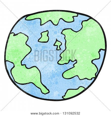 freehand textured cartoon planet earth