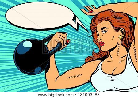 A strong woman athlete with weights pop art retro vector. Physical education and athletics. Swing muscles. The girl athlete retro vector. The girl athlete. The power of women