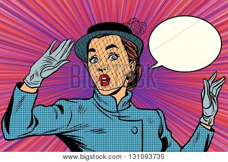Surprised retro lady pop art retro vector. the veil on the face. Stylish beautiful woman emotion fear