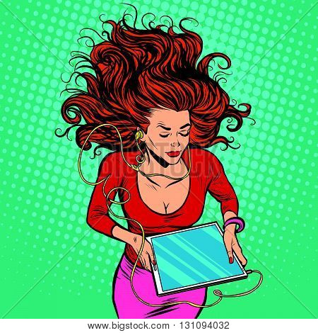 Beautiful girl lies with your graphics tablet with headphones pop art retro vector. Watching movies and Internet. The modern gadgets. New technology, audio and video poster