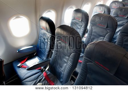 VIENNA - 07 September, 2015: seats in the interiors of an aircraft of the Air Berlin company