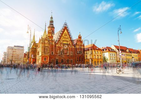 Fantastic view of the ancient city hall Wroclaw (Ratusz WrocÃ??awski) on a sunny day. Picturesque scene. Location famous Market Square, Poland, Europe. Historical capital of Silesia. Beauty world.