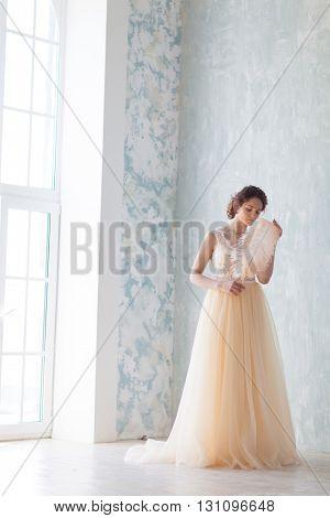 Beautiful bride in ivory wedding dress