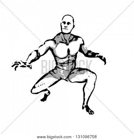 Comic Book Hero Pose in Sketch Ink Illustration