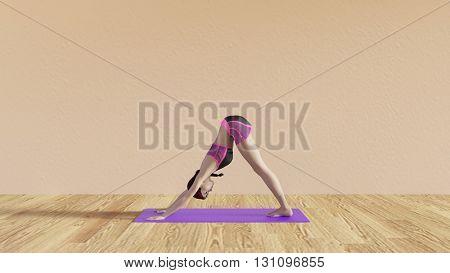 Yoga Class Downward Facing Dog Pose Illustration with Female Instructor  3D Illustration Render