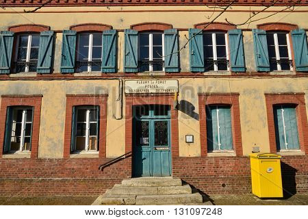 Fleury la Foret France - march 15 2016 : the picturesque old post office