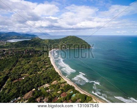 Aerial View of Beaches in Sao Sebastiao, Sao Paulo, Brazil