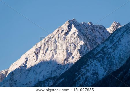 Peak of Stubai Alpen in Austria on morning