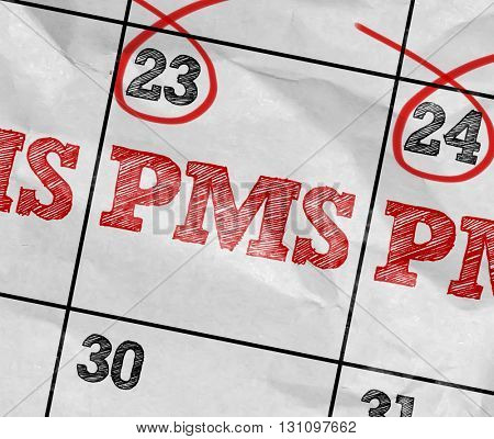 Concept image of a Calendar with the reminder: PMS