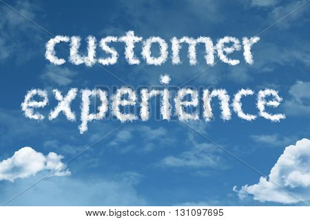 Customer Experience cloud word with a blue sky