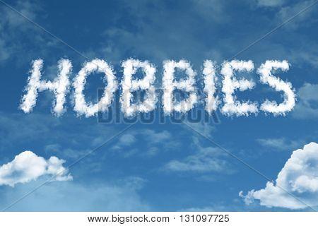 Hobbies cloud word with a blue sky