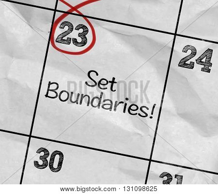 Concept image of a Calendar with the text: Set Boundaries