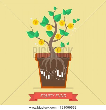 Passive income from equity fund. Business concept