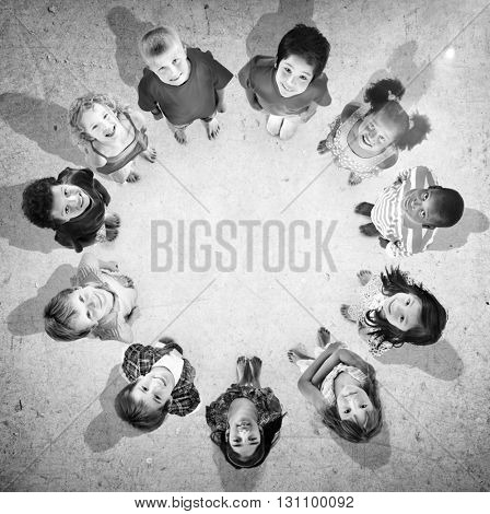 Kids Children Childhood Aerial View Together Concept
