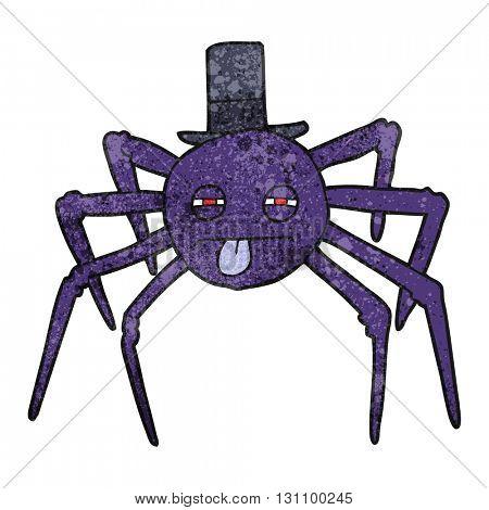 freehand textured cartoon halloween spider in top hat