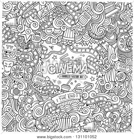 Cartoon vector hand-drawn Cinema Doodle frame. Design background with movie objects and symbols border.