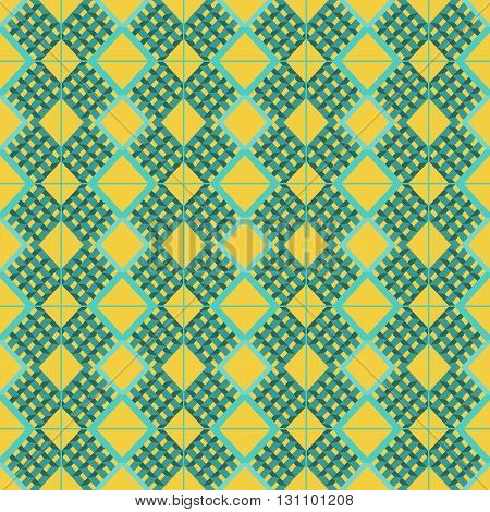 Abstract background with aqua prism shapes and squares pattern over an yellow background. Digital vector image.
