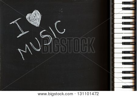 Music keyboard on blackboard background for passion and love for music with copy space