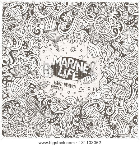 Cartoon hand-drawn doodles on the subject of Underwater life frame border. Line art detailed, with lots of objects vector background