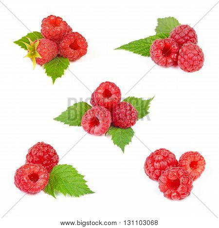 Set of Red Ripe Raspberry Heaps with Green Leaves Isolated on White