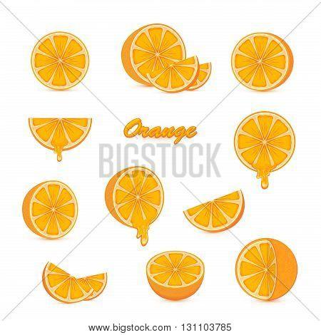 Set of ripe oranges and fresh juicy orange slices with juice isolated on white background, illustration.