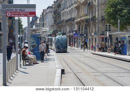 France, Bordeaux - July 23, 2014: The Tram Stop At Place Pey-berland Bordeaux..