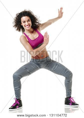 woman dancer fitness exercises isolated