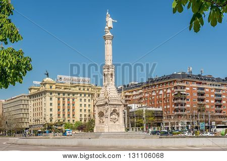 MADRID,SPAIN - APRIL 25,2016 - Columbus square with Monument to Christopher Columbus. Columbus Square (Plaza de Colon) is located in the encounter of Chamberi Centro and Salamanca districts of Madrid.