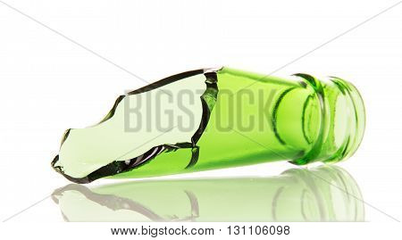 The neck of a broken glass bottle isolated on white background.