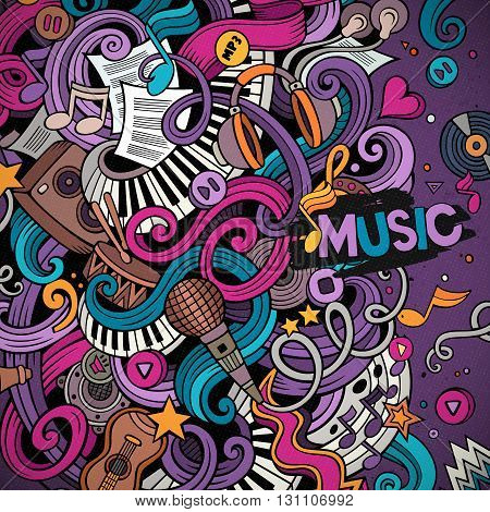 Cartoon hand-drawn doodles Musical illustration. Colorful detailed border, with lots of objects vector background