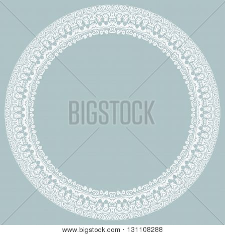 Oriental vector round white frame with arabesques and floral elements. Floral fine border. Greeting card with place for text