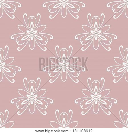 Floral vector ornament. Seamless abstract classic pattern with flowers. Purple and white pattern