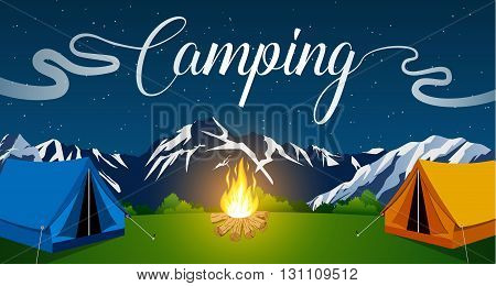 Vector flat illustration camping. Nature background with grass, forest, mountains and hills. Outdoor activities. Tent and fire camp. vector illustration in flat design. night camp.