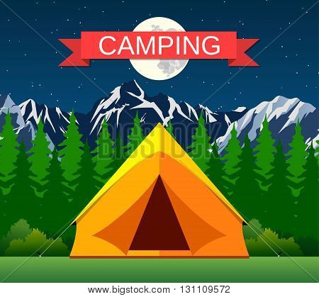 Tourist tent on a clearing located under the moon and stars on the background of mountain and wood. vector illustration in flat design