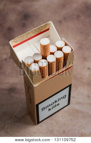 WREXHAM UNITED KINGDOM - MAY 23 2016: Pack of ten cigarettes now banned under the European Union Tobacco Products Directive as of May 20th 2016 along with wide ranging controls on tobacco products