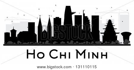 Ho Chi Minh City skyline black and white silhouette. Simple flat concept for tourism presentation, banner, placard or web site. Isolated Ho Chi Minh