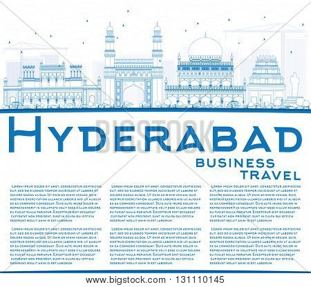 Outline Hyderabad Skyline with Blue Landmarks and Copy Space. Business Travel and Tourism Concept with Historic Buildings. Image for Presentation Banner Placard and Web Site.