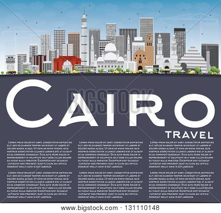 Cairo Skyline with Gray Buildings, Blue Sky and Copy Space. Business Travel and Tourism Concept with Historic Buildings. Image for Presentation Banner Placard and Web Site.
