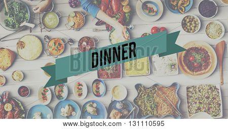Dinner Food Eating Party Celebration Concept