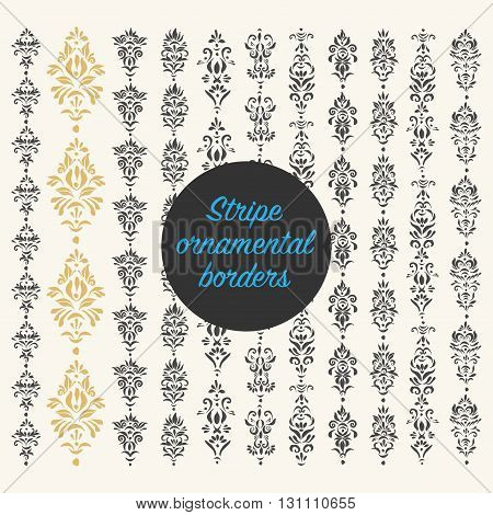 Set of vector decorative elements. Illustrator pattern brushes. Stripe seamless ornamental borders vintage style of page illumination.