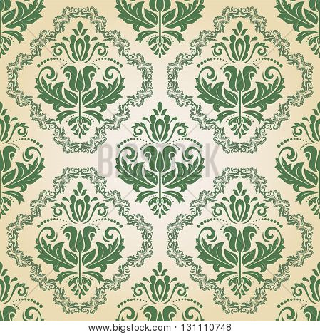 Seamless oriental ornament in the style of baroque. Traditional classic vector green pattern